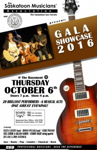The Saskatoon Musicians' Association Presents Gala Showcase 2016 & First Recipient of the Special Recognition Award