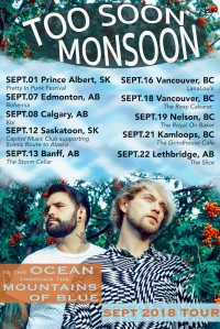 New Music, September Tour Dates & Studio News From Too Soon Monsoon